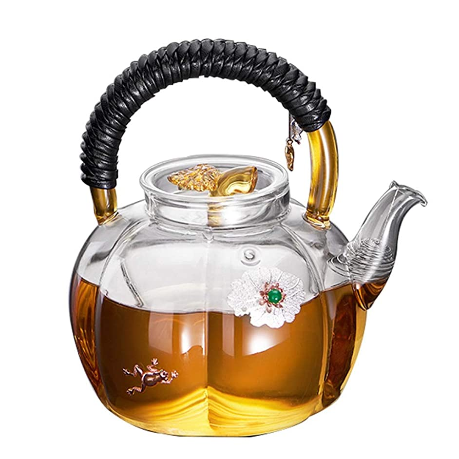 Teapots Coffee Servers Teapot Home High Temperature Anti-scalding Teapot Glass Detachable Environmental Protection Teapot Ice Coffee Maker (Color : Clear, Size : 900ml)