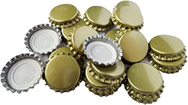 TRIXES 100PC Gold Metal 25mm Bottle Caps Crown Home Brew Lid Toppers