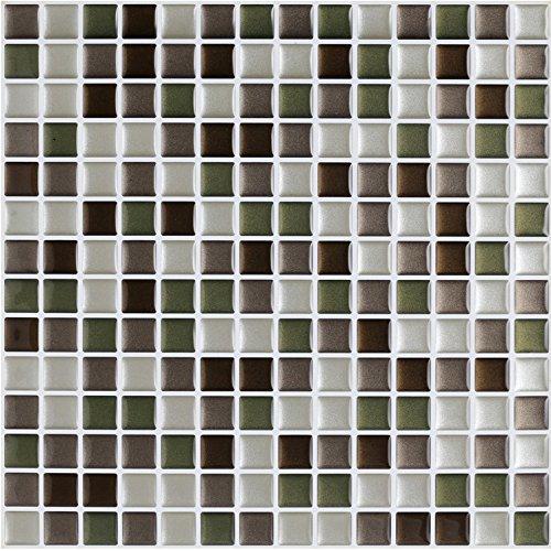 4-er Packung 3D Gel Mosaic Effekt Aufkleber. Selbstklebend und im grün, dunkelbraun, hellbraun und weiß. 25.4 cm x 25.4 cm Selbstklebendes Vinyl-Mosaik (3D0003)