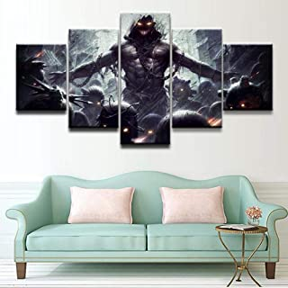 WLHWLH Home Decor Print Canvas Painting Art Canvas Painting Wall Picture 5 Panel The Band Music Disturbed Poster Decor Bedroom