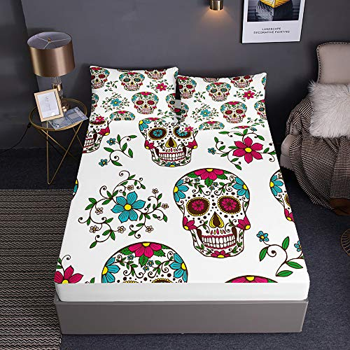 Enhome Fitted Sheets Bedding Sheets With 2 Pillowcases for Single Double King Size Bed, 3D Skull Printed Microfibre Bedding Fitted Sheets - Deep Pocket (180x200x30cm,Spring floral)