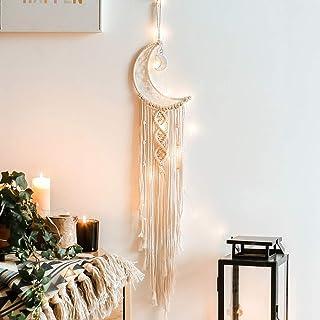 Uchi ドリームキャッチャー LEDライト インテリア 装飾品 手作り 綿糸 半月形 捕夢網 壁飾り 車飾り 学生寮 部屋飾り 手芸品