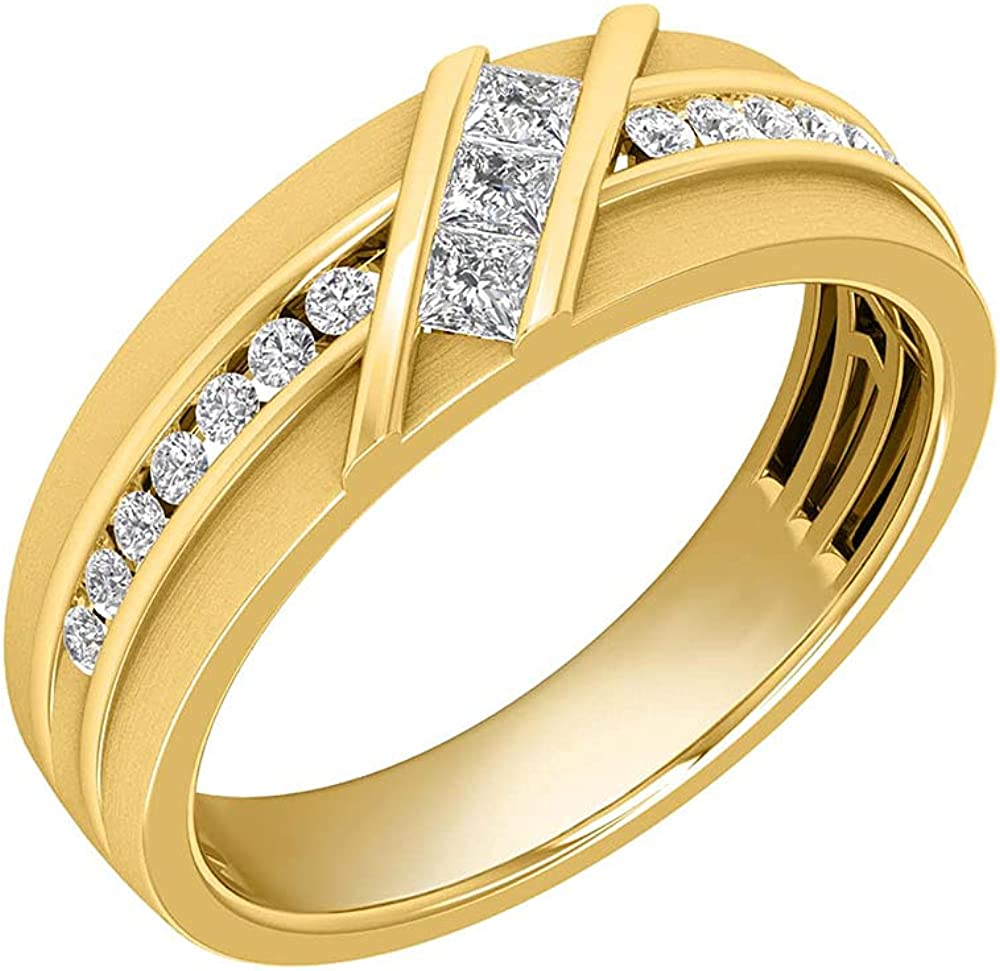Inspereza 1/2Cttw 10K Gold Men's Princess and Round Diamond Channel Set Wedding Band Ring (Color H-I ,Clarity I1)