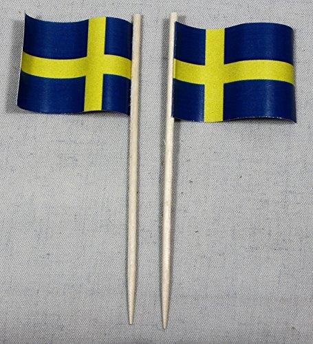 Buddel-Bini Party-Picker Flagge Schweden Papierfähnchen in Spitzenqualität 50 Stück Beutel