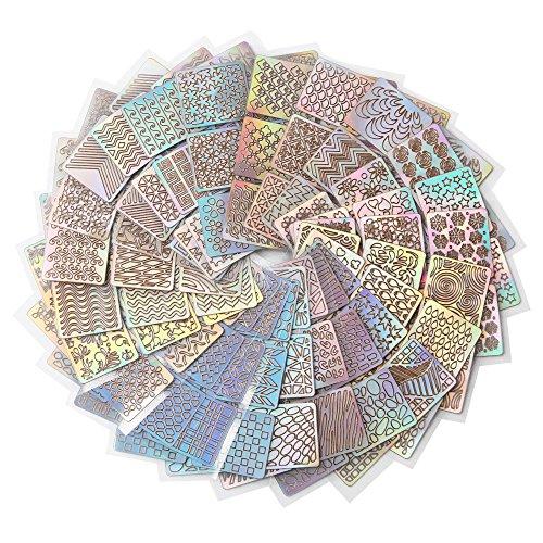 Ashui Stickers Ongles Soin Des Ongles 12 Feuilles De Manucure RéUtilisables Pour Manucure RéUtilisable Gabarit Jet D'Encre Autocollant Creux Nail Art French Manucure