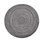 YIZUNNU - Juego de 4 manteles individuales redondos trenzados lavables con aislamiento para cocina, hogar, bar, alfombra antideslizante (gris, 36 cm)