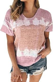 TINGZI Summer Fashion Tunic Shirt Women Lightweight O-Neck Gradient Printed Short Seleves Plus Size Tops Shirt