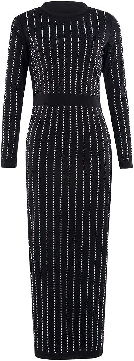 Women Bodycon Dress, Long Sleeve O-Neck Rhinestone Pencil Long Hip Dress, Ladies Bar/Party/Club Tight One-Piece