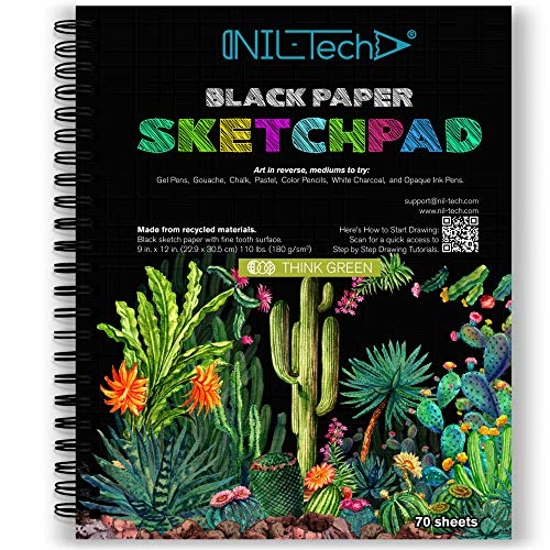 NIL TECH 9x12 Inches 70 Sheets Black Paper Sketch Book (110 lb/180gsm) Fine Tooth Spiral Bound Drawing Paper Pad for Kids and Adults