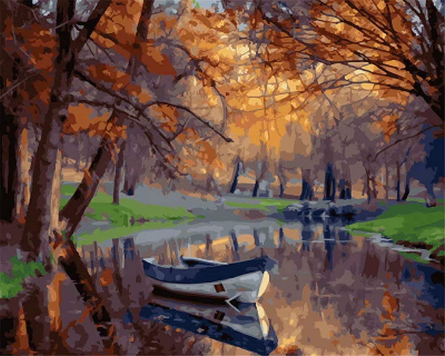 DIY Oil Painting, Paint by Number Kits -Romantic Autumn Maple Sailboat,16X20 Inch