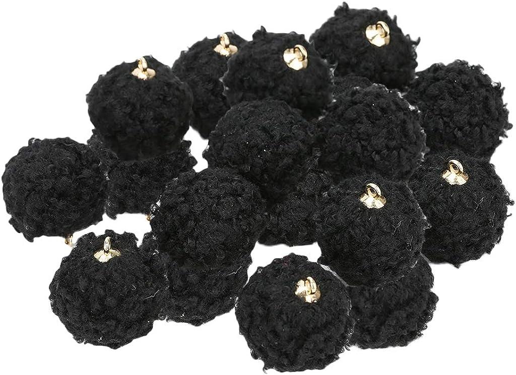 Baosity 20Pieces/Set Mini Fuzzy Balls Imitation Lamb Wool Balls Pendants with Ring for DIY Earring (Diameter: 15mm/0.59