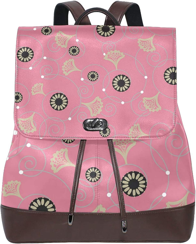 FAJRO Cockscomb Floral Patterns Travel Backpack Leather Handbag School Pack