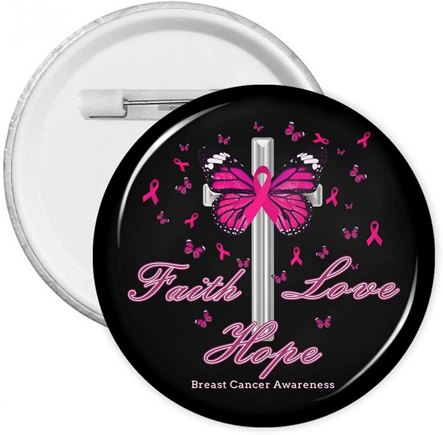 Faith Love Hope Breast Cancer Awareness-2 Badges Genuine Free Max 86% OFF Shipping Bu Personality