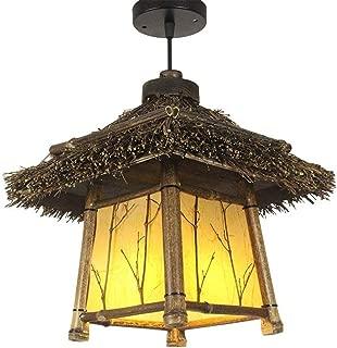 XIAOXY Handmade Chandelier Decorative Wooden Creative Solid Wood Pendant Lights Restaurant Aisle Island Lights Living Room Tea Room Japanese-Style Bamboo Ceiling Lights E27 Hanging Light