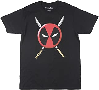 Marvel Deadpool Icon Logo and Swords Adult Black T-shirt