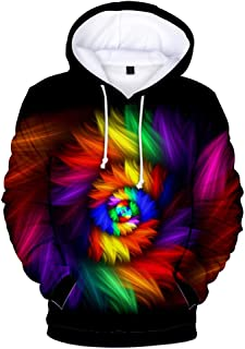 Mens Sweatshirt Colorful Vortex Printed Casual Hoodies Pullover Tops Blouse with Pockets Hooded Outwear WEI MOLO