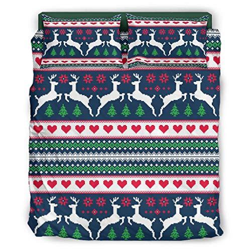 Zhcon Juego de cama de 4 piezas, diseño de ciervos navideños colorido, respetuoso con la piel, sábanas blancas 240 x 264 cm
