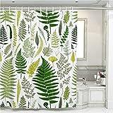 Cortina de ducha verde de hojas de palma con 12 anillas de cortina de ducha de poliéster impermeable simple y moderno juego de decoración de baño con 12 ganchos, resistente al agua, 180 x 180 cm