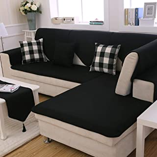 Redsun Cotton Linen Sectional Sofa Cover, Anti-Slip Solid Color Couch Covers Stain Resistant Furniture Protector for Dogs-Black 70x70cm(28x28inch) (Sold by Piece/Not All Set)