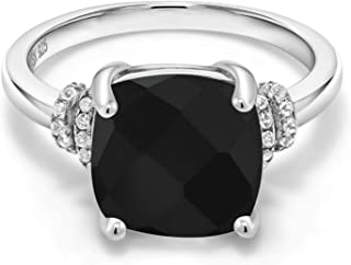 Black Onyx 925 Sterling Silver Women's Ring (3.89 Cttw Cushion Checkerboard Cut Available in size 5, 6, 7, 8, 9)