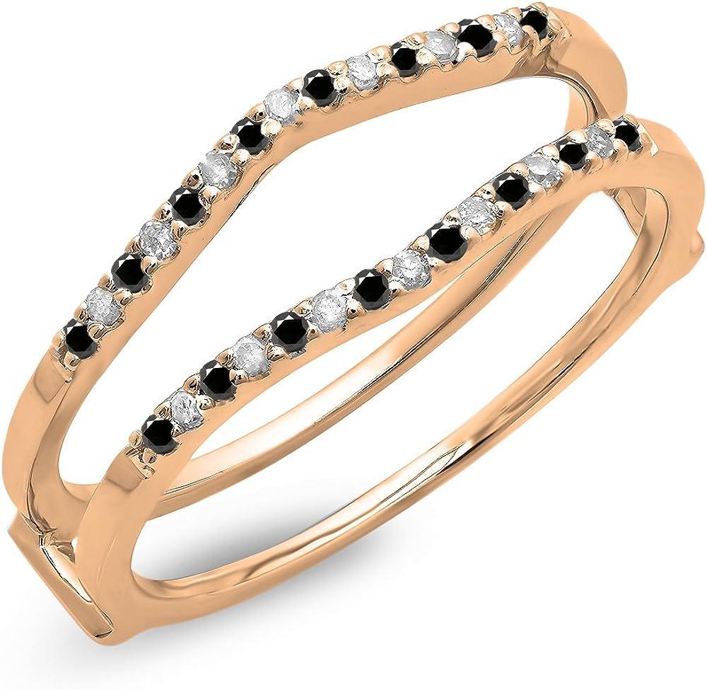 Dazzlingrock Collection 0.18 Carat (ctw) 10K Gold Round Black & White Diamond Ladies Wedding Band Enhancer Guard Double Ring