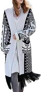 Women Long Sleeves Print Knitting Cardigan Open Front Warm Sweater Outwear Coats