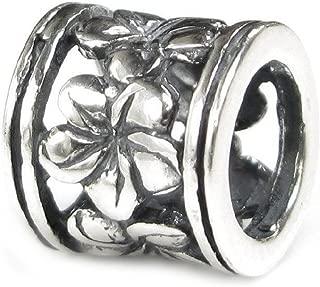 Queenberry Sterling Silver Frangipanni Hawaiian Daisy Flower Pandora Style European Bead Charm
