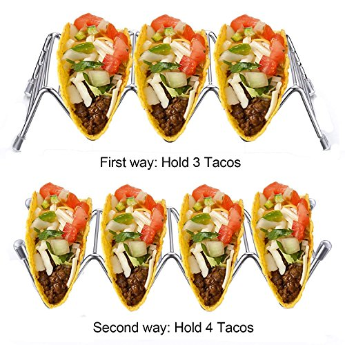 Taco support Supports Coque en acier inoxydable 304 Outil de forme de vague Restaurant Food Show 4 Pcs