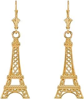 14k Yellow Gold Paris Eiffel Tower Dangle Earrings