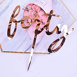 YUINYO Happy Birthday Cake Topper Acrylic Rose Gold 40th Birthday Party Decoration Supplies Calligraphy Bling Cake Decoration Sign Party Banner