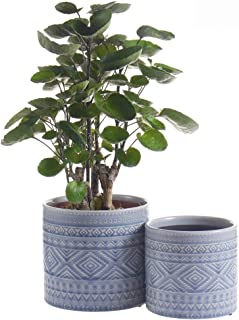 """Voeveca Ceramic Flower Pot Garden Planters 4.5"""" and 5.5"""" Set of 2 Indoor Outdoor, Modern Nordic Style Plant Containers (Blue)"""