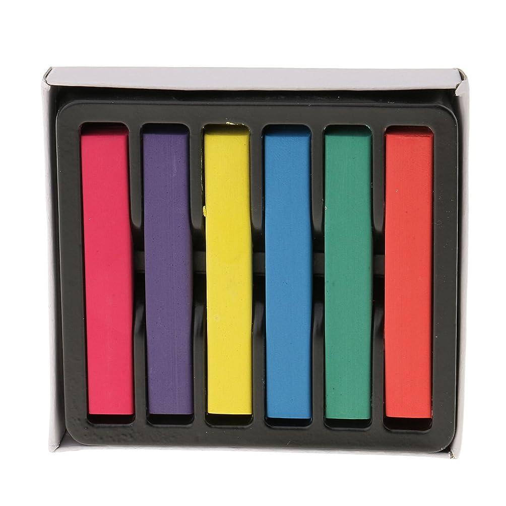 放置カプラー韻Sharplace ヘアカラーチョーク 一日だけの髪染め ハロウィーン クリスマス パーティー化粧 DIY 6色セット