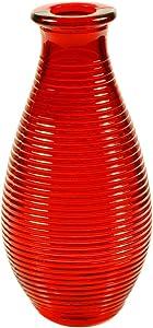 Hurom Decorazione Floreale Vaso in Vetro Altezza 14cm Vaso, Vetro, Rosso, 7x 7x 14cm