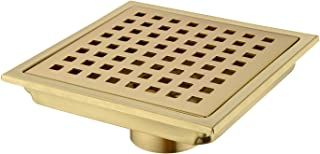 Orhemus Square Shower Floor Drain with Removable Cover Grid Grate 6 inch Long, SUS 304 Stainless Steel Brushed Gold Finished