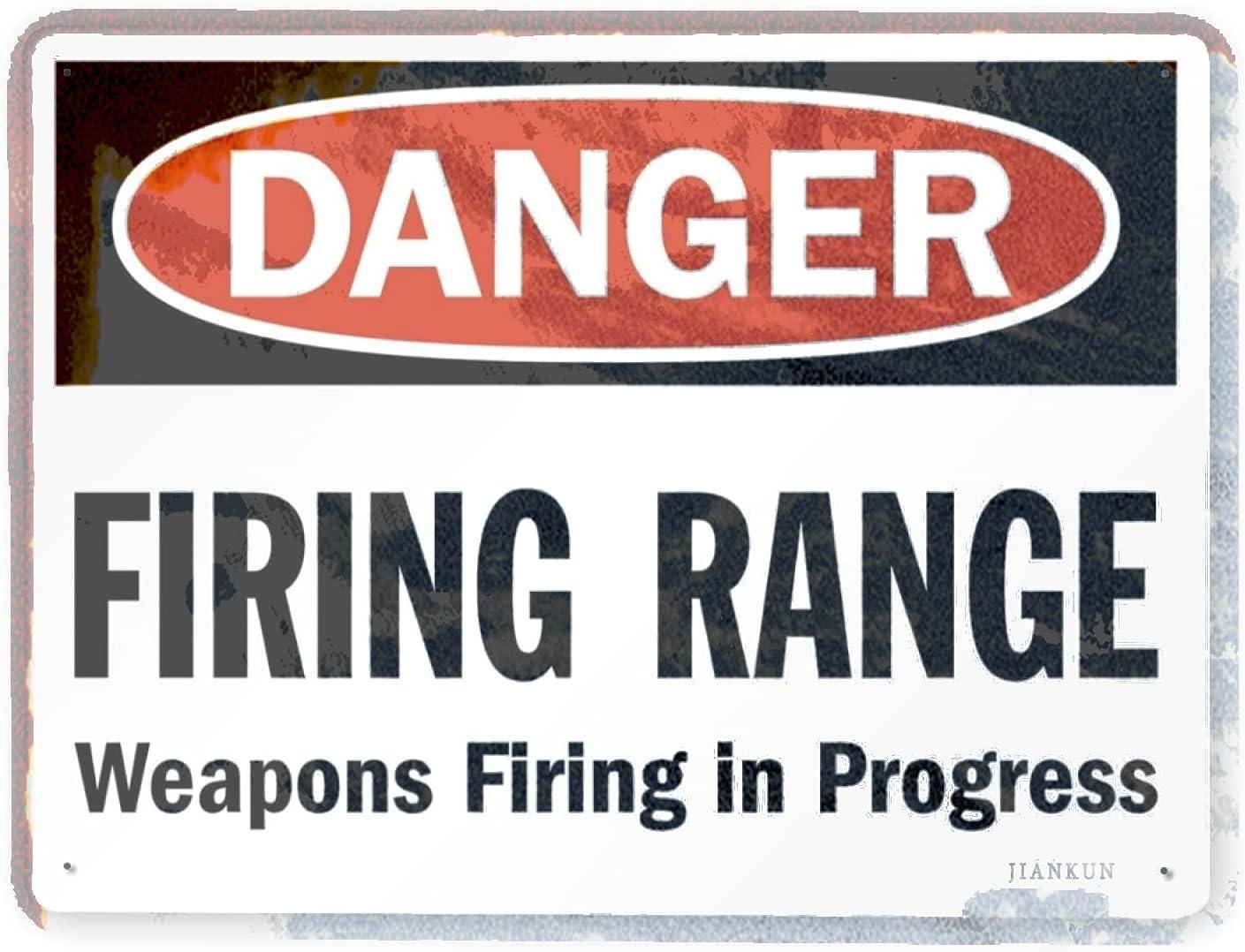 J.DXHYA Man Cave Decor 2 Pieces Max 64% OFF Shooting Warning Dang Range Sign Miami Mall
