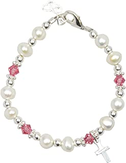 Christening White Cultured Fresh Water Pearls and Pink Swarovski Crystals with Sterling Silver Cross Luxury Keepsake Baby Girl Bracelet (BFWCP_S)