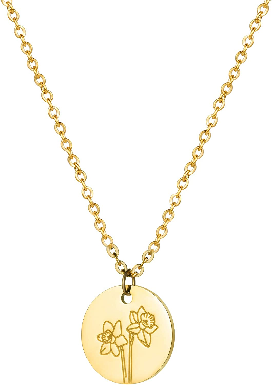 Birth Flower Gifts low-pricing for Women Courier shipping free 18K Gold Pendant Necklace Sp Floral