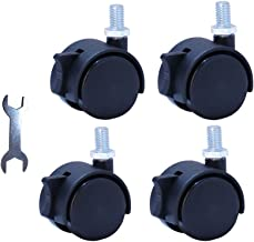 """Replacement Caster New Material Nylon Plastic Swivel Furniture Wheels Floor Protecting Office Chair Swivel Caster Threaded Stem 3/8""""3/5"""" and Dia 1.5 Inch with Brake Black (Set of 4)"""