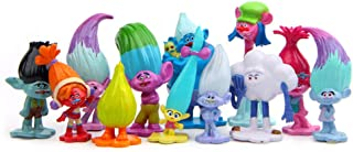 Beauy Girl 12 pcs Trolls Toys Cake Toppers, Animal Figure Collection Playset, Cupcake Topper, Cake Decoration, Plant Pot M...