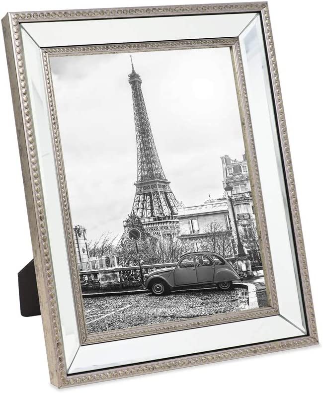 Genuine Free Shipping Isaac Jacobs 8x10 shipfree Champagne Mirror Classic Frame Bead Picture -