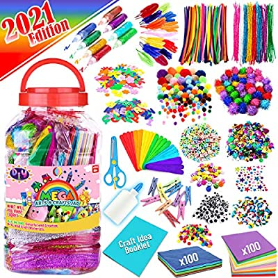 FUNZBO Arts and Crafts Supplies for Kids - Assorted Craft Art Supply Kit for Toddlers Age 4 5 6 7 8 9 - All in One D.I.Y. Crafting Collage Arts Set for Kids (Jumbo) from FunzBo