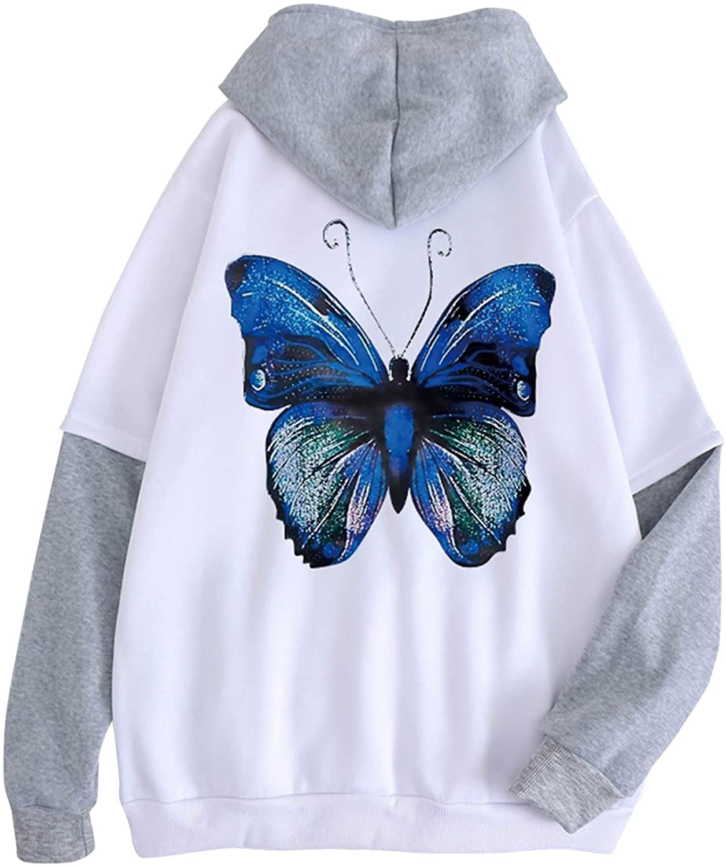 Womens Hoodie Sweatshirt Long Sleeve Butterfly Graphic Patchwork Loose Oversized Comfy Hooded Sweatshirt for Teen Girls