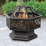 BELLEZE Hex Shaped Firepit Outdoor Home Garden Backyard Fireplace Fire Pit w/Lid