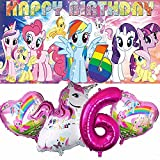 My Little Pony 6th Party Supplies   For Girls   Sixth   Six   Decorations   Birthday   Banner   Backdrop   Balloons   Favors