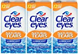Clear Eyes Eye Drops, Natural Tears Lubricant, 0.5 oz, Pack of 3