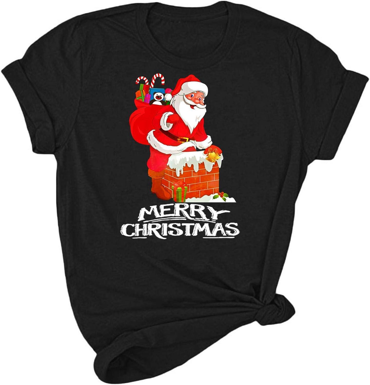 Christmas T-Shirt Women Casual Short Sleeve Funny Print Tee Loose Tunic Tops