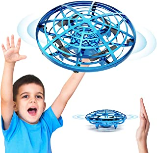 BixMe Hand Operated Flying Mini UFO Drone ,Hands Free Helicopter Birthday Gift Hand Controlled Mini Quadcopter for Kids Boys and Girls Party Present Interactive Flying Ball Toy with LED Lights(Blue)