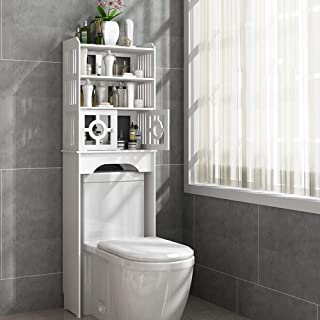 Estante de baño SHPING Almacenamiento de baño Estante WC Cuarto de baño Corte Libre del gabinete Piso del baño higiénico Cremallera Resistente al Agua por Encima del Inodoro (Size : B)