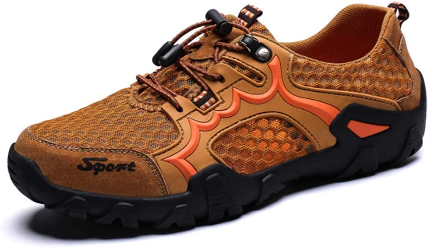 XSPDX Hiking shoes Men's Mesh Breathable Sports Outdoor shoes Non Slip Trainers shoes Lightweight Summer shoes for Beach Basketball Badminton Camping,Earthyellow,45EU