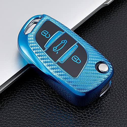 ontto Carcasa de TPU para llave de coche compatible con Citroen C2 C3 C4 C5 C6 C8 DS4 para Peugeot 107 207 306 307 407 308 607 mando a distancia de Peugeot 107 207, color azul